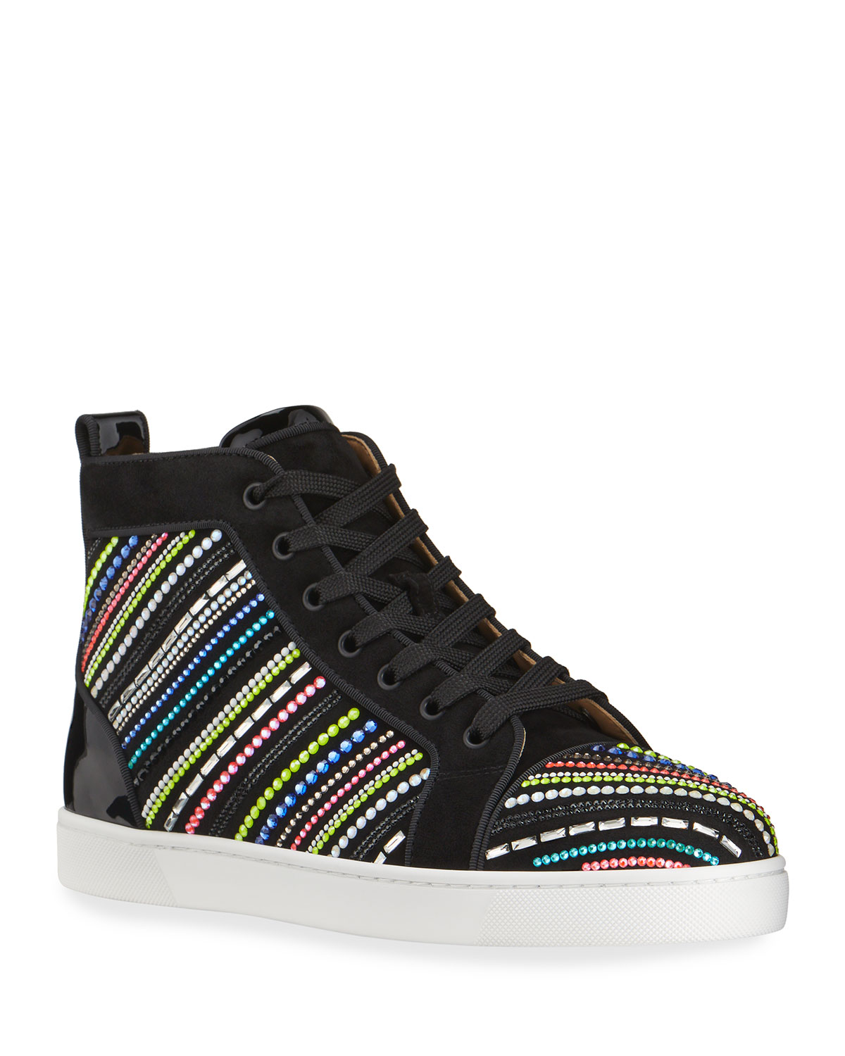 Christian Louboutin MEN'S LOUIS RAYS MULTICOLORED EMBELLISHED RED SOLE HIGH-TOP SNEAKERS