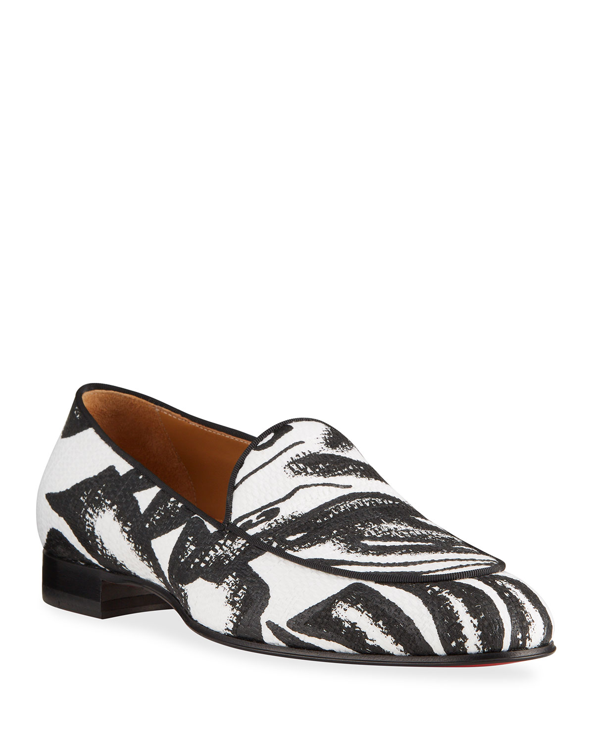 Christian Louboutin MEN'S STYLE ON THE NILE PRINTED RED SOLE SLIP-ONS