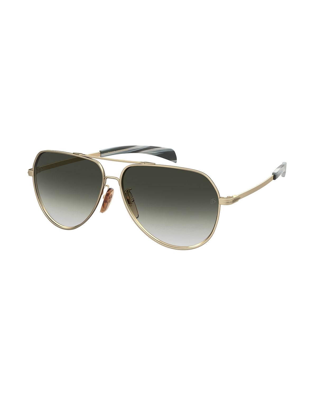 Men's Metal Brow-Bar Aviator Sunglasses