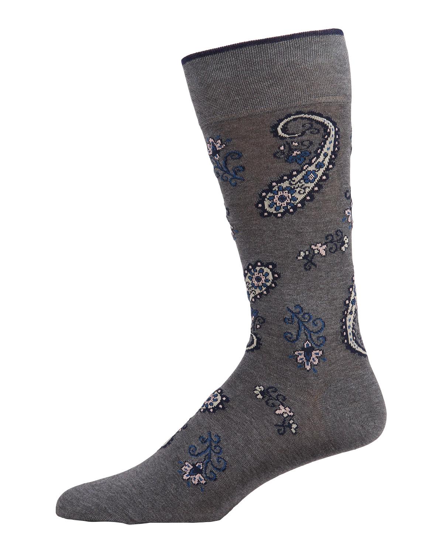 Men's Paisley-Print Cotton-Blend Crew Socks