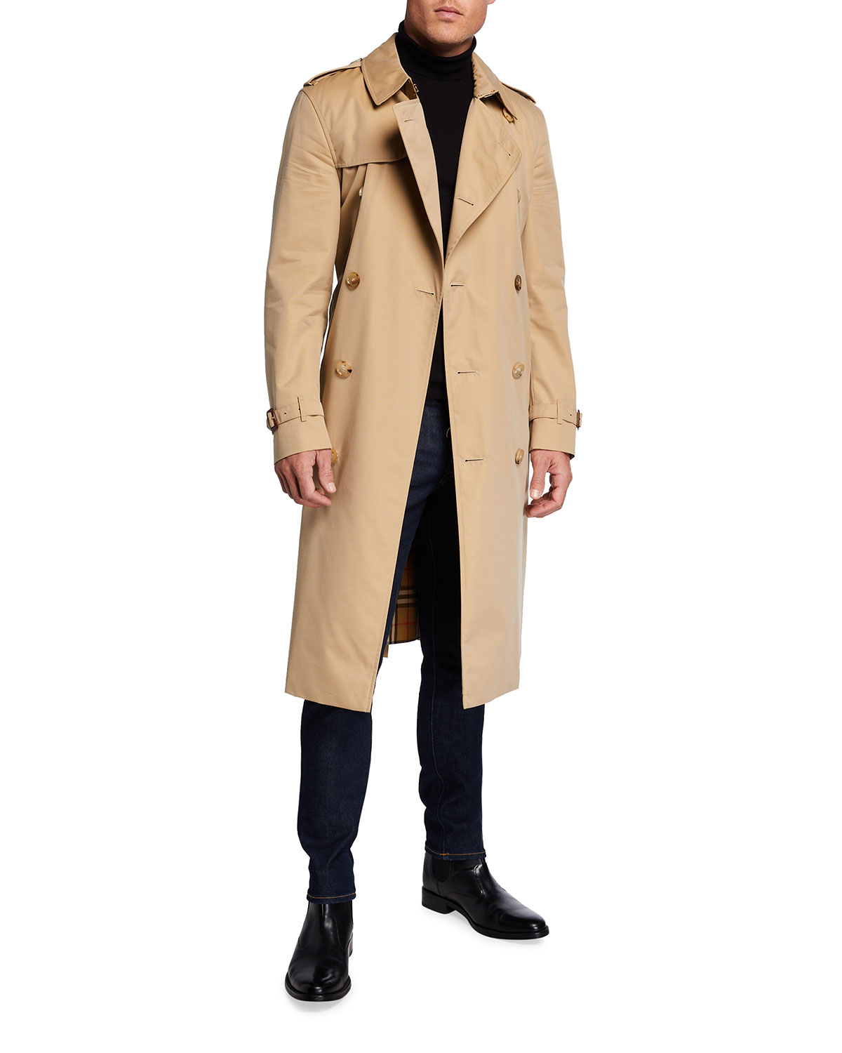 Burberry MEN'S KENSINGTON DOUBLE-BREASTED LONG TRENCH COAT