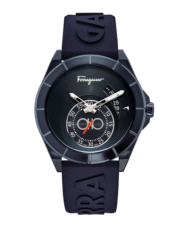Men's 43mm Urban IP Blue Watch w/ Silicone Strap