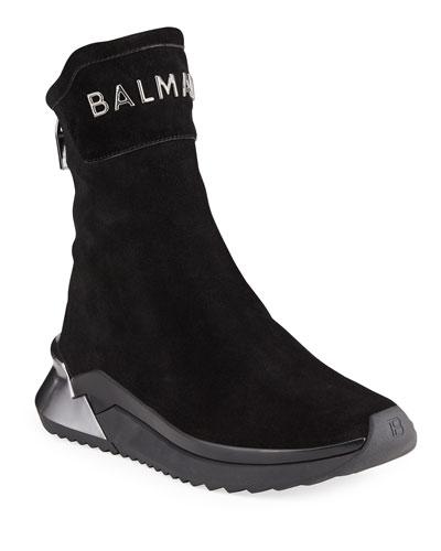 Men's B Glove Suede Zip High-Top Sneakers