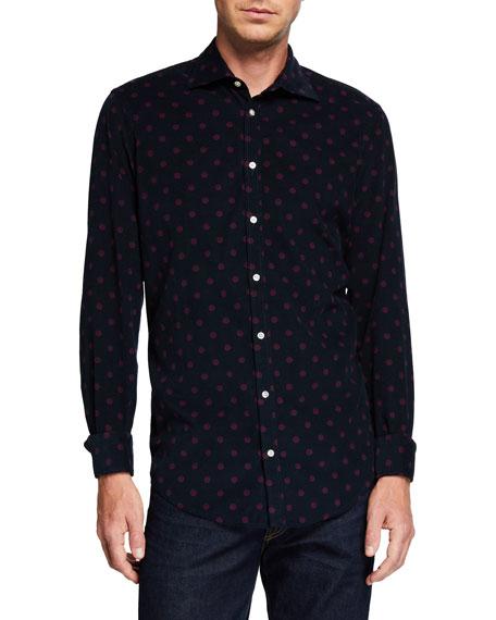 Massimo Alba Men's Genova Baby Corduroy Polka-Dot Shirt