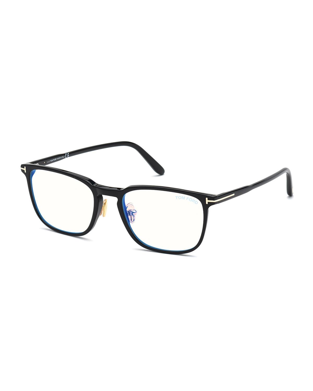 Men's Blue Block Square Acetate Optical Frames