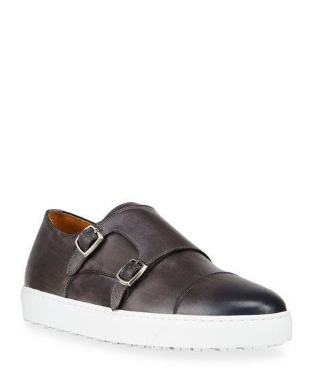 Magnanni Men's Double-Monk Slip-On Sneakers
