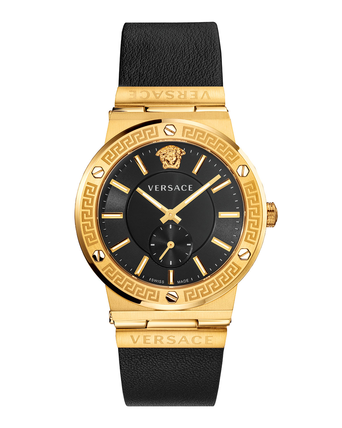 Men's 41mm Greca Logo Watch with Leather Strap