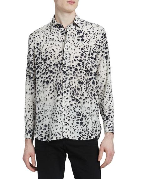 Saint Laurent Men's Snow Leopard Silk Sport Shirt