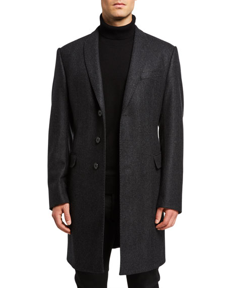 Emporio Armani Men's Herringbone Wool Topcoat