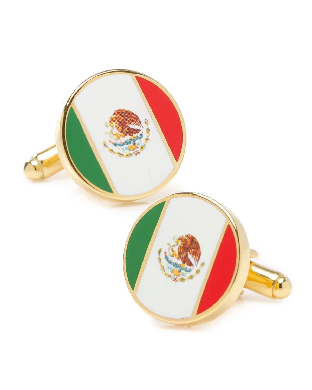 Men's Mexico Flag Round Cufflinks