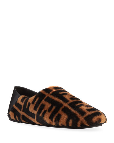 Men's FF Logo Sheep Fur Fold-Down Slippers