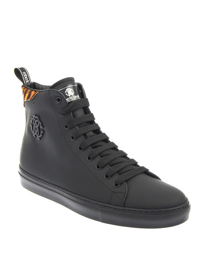 Men's Leather High-Top Sneakers w/ Printed Calf Hair