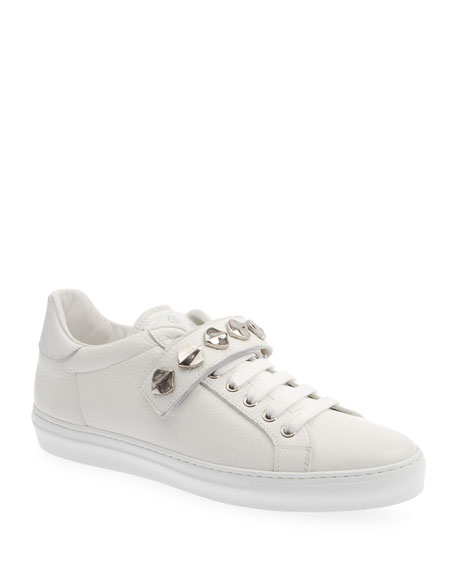 Roberto Cavalli Men's Leather Low-Top Sneakers w/ Studded Grip-Strap