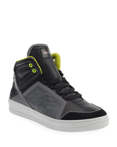 Men's Mix-Leather Platform High-Top Sneakers