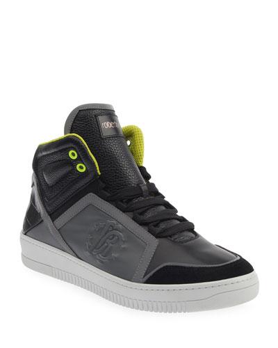 Men's Mix-Leather Platform High-Top Sneakers