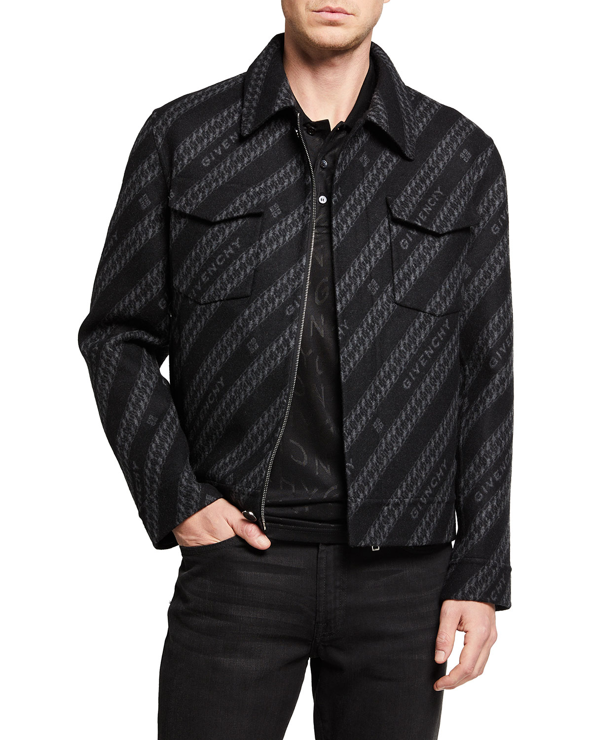Givenchy MEN'S LOGO-CHAIN DOUBLE-FACE SHIRT JACKET