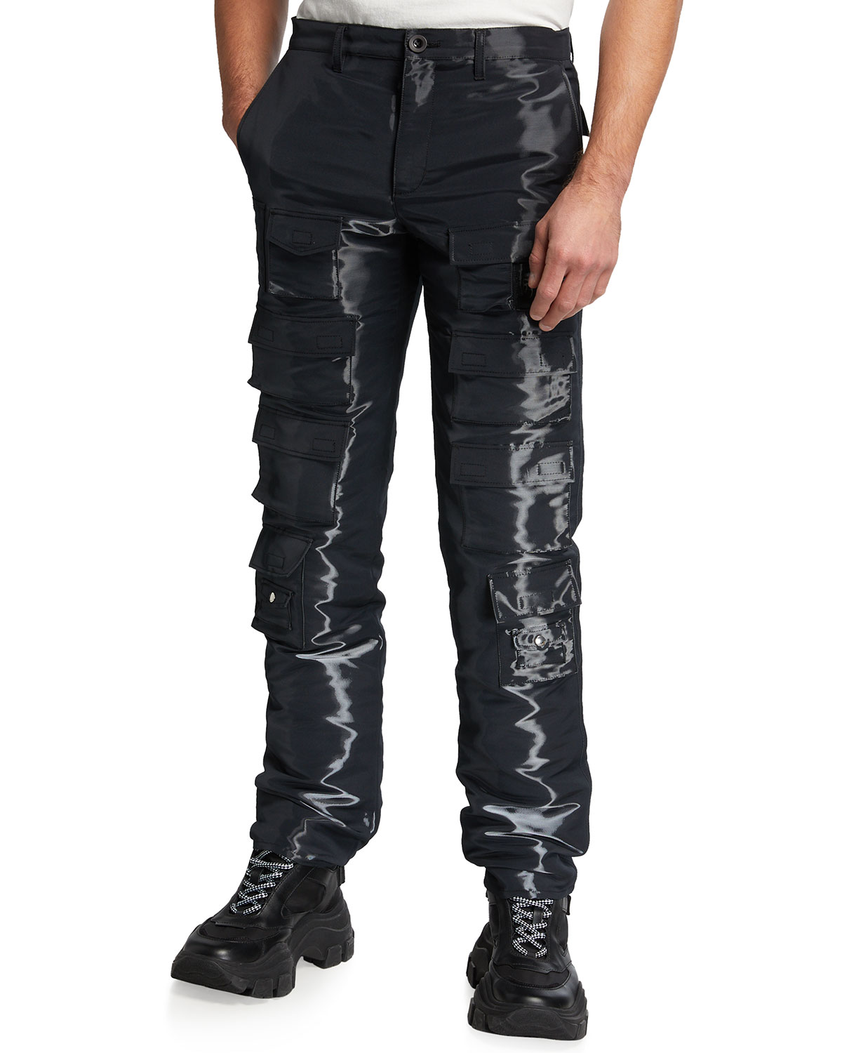 Givenchy MEN'S WATER-EFFECT MULTI-POCKET CARGO PANTS
