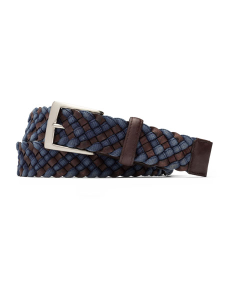 W. Kleinberg Men's Braided Leather/Fabric Belt