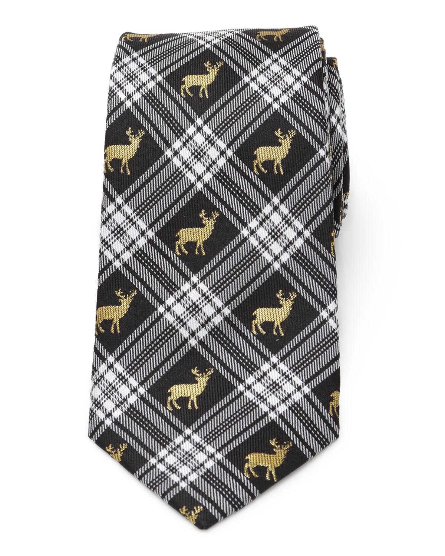 Men's Plaid Stag Silk Tie
