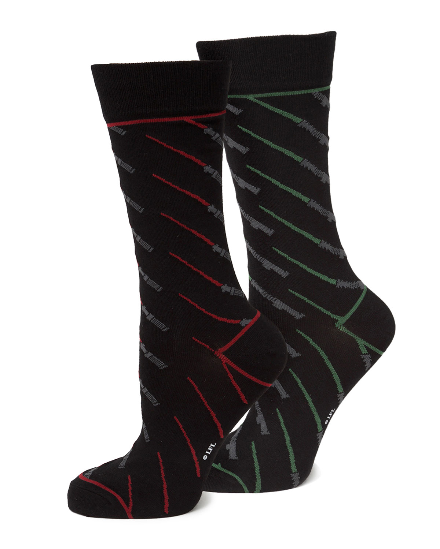 Men's Star Wars Red & Green Lightsaber Socks