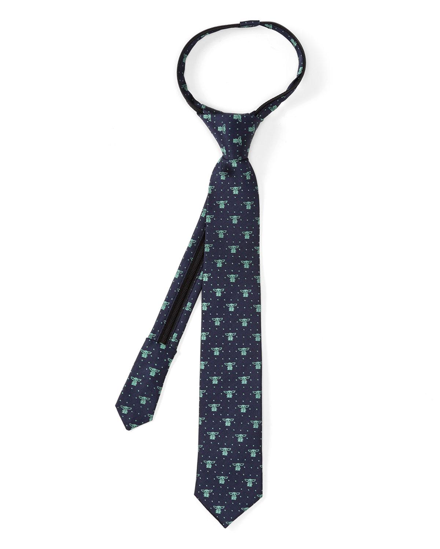 Boy's The Mandalorian's The Child Dotted Silk Zipper Tie