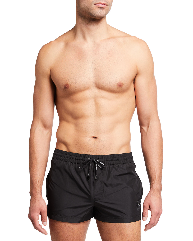 Men's Solid Logo Short Swim Shorts
