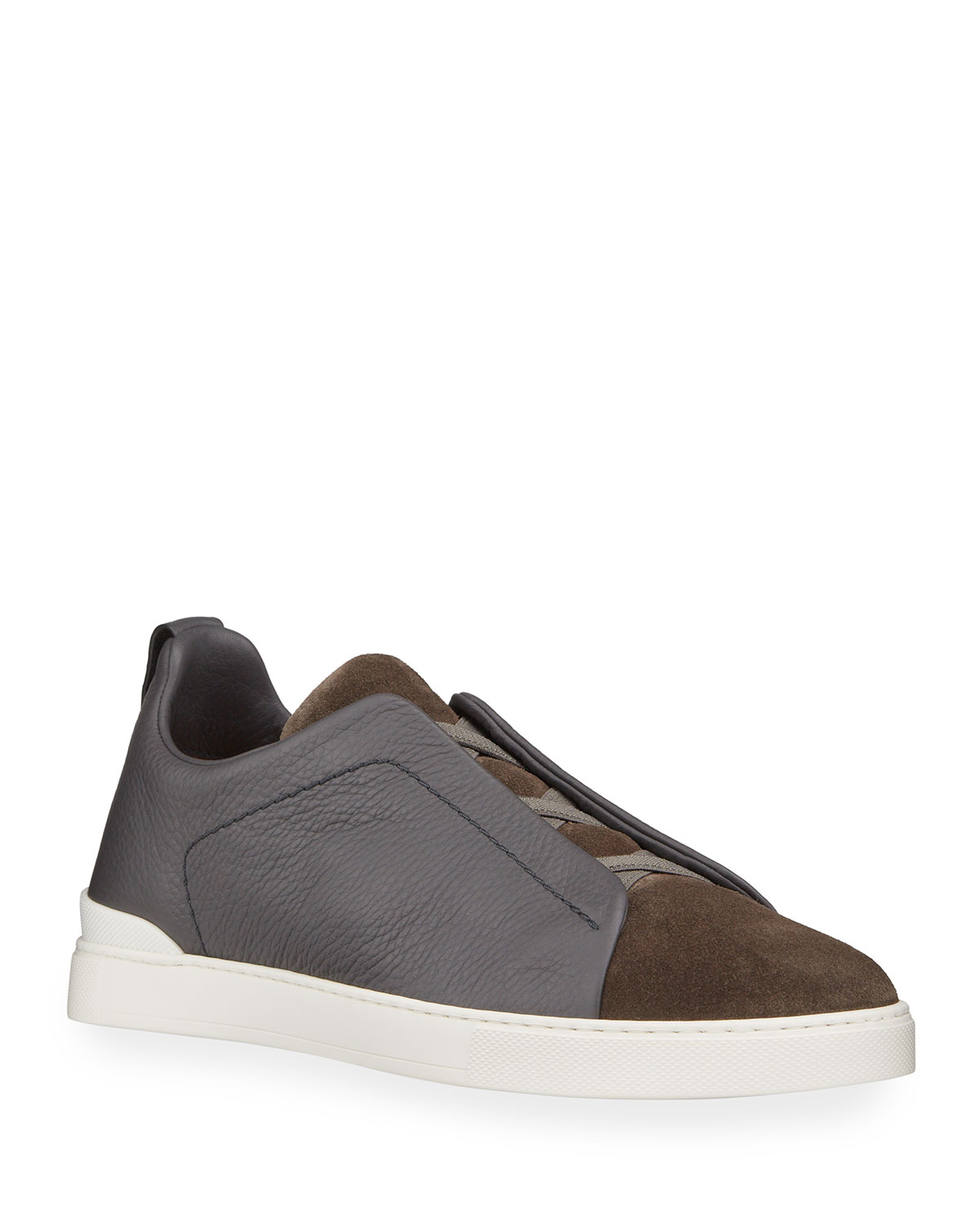 Men's Triple-Stitch Mix-Leather Slip-On Sneakers