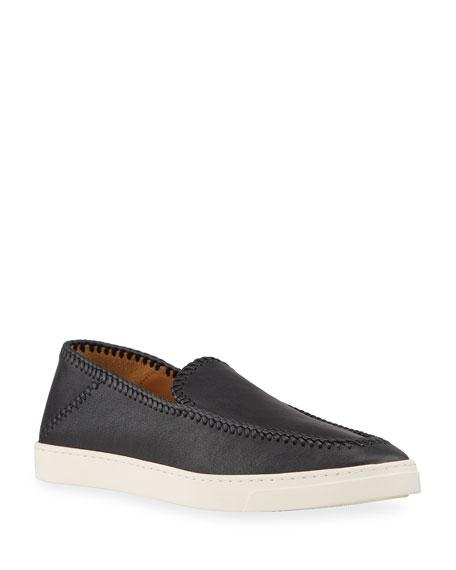 Giorgio Armani Men's Woven Leather Slip-On Shoes