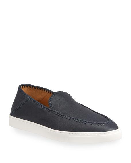 Giorgio Armani Men's Woven Leather Slip-Ons
