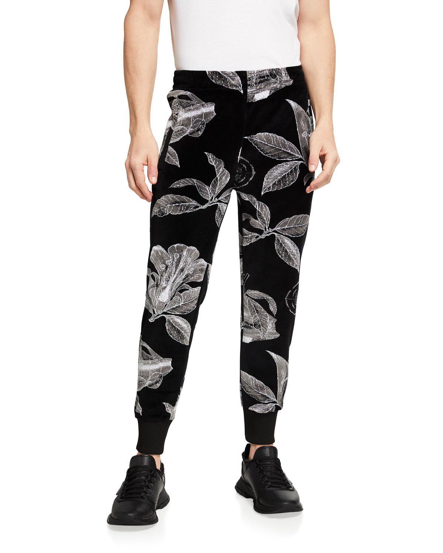 Givenchy Cottons MEN'S FLORAL SCHEMATICS VELVET TRACK PANTS