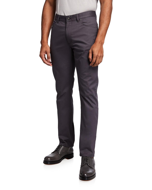 Men's Solid Stretch-Denim Pants