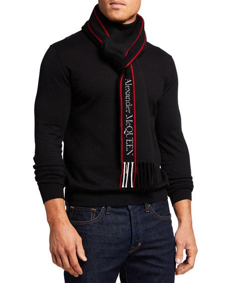 Alexander McQueen Men's Logo Selvedge Wool-Cashmere Scarf
