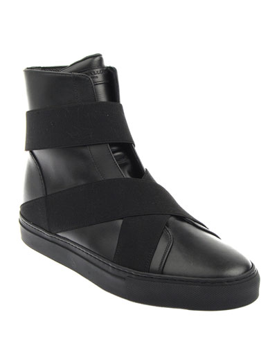 Men's Logo Elastic High-Top Sneakers