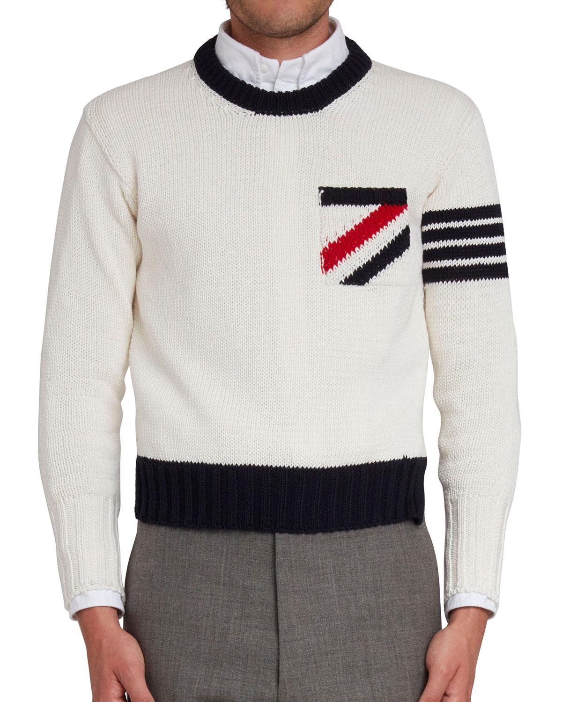 Thom Browne Sweatshirts MEN'S INTARSIA-KNIT COTTON SWEATER