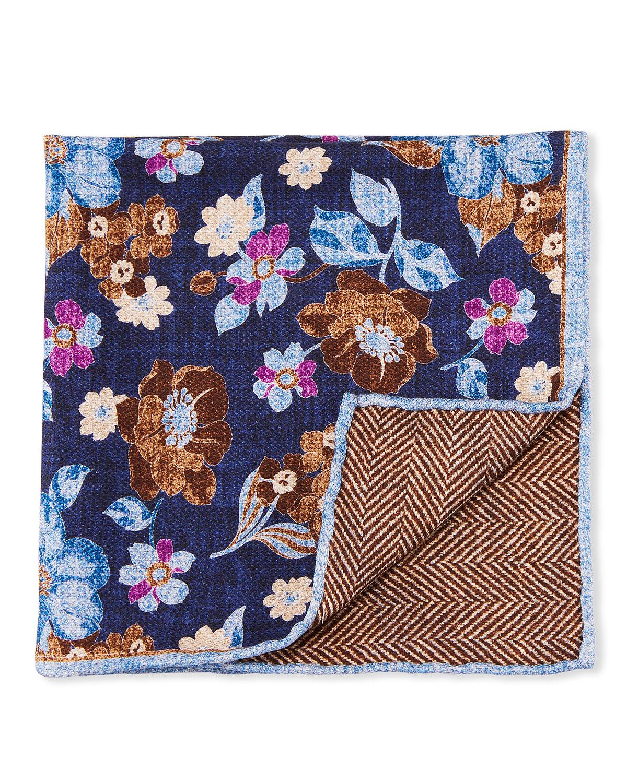 Men's Reversible Floral-Chevron Pocket Square