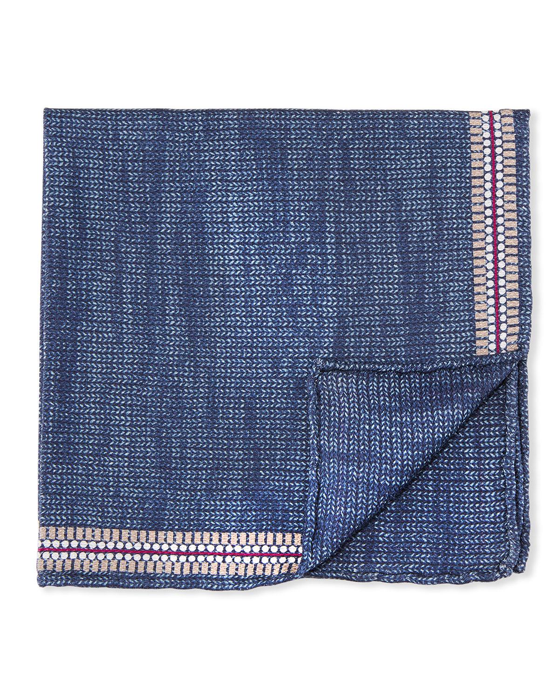 Men's Solid Knit Pocket Square w/ Border