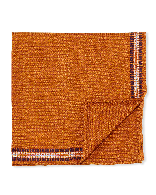 Men's Solid Silk Pocket Square w/ Border