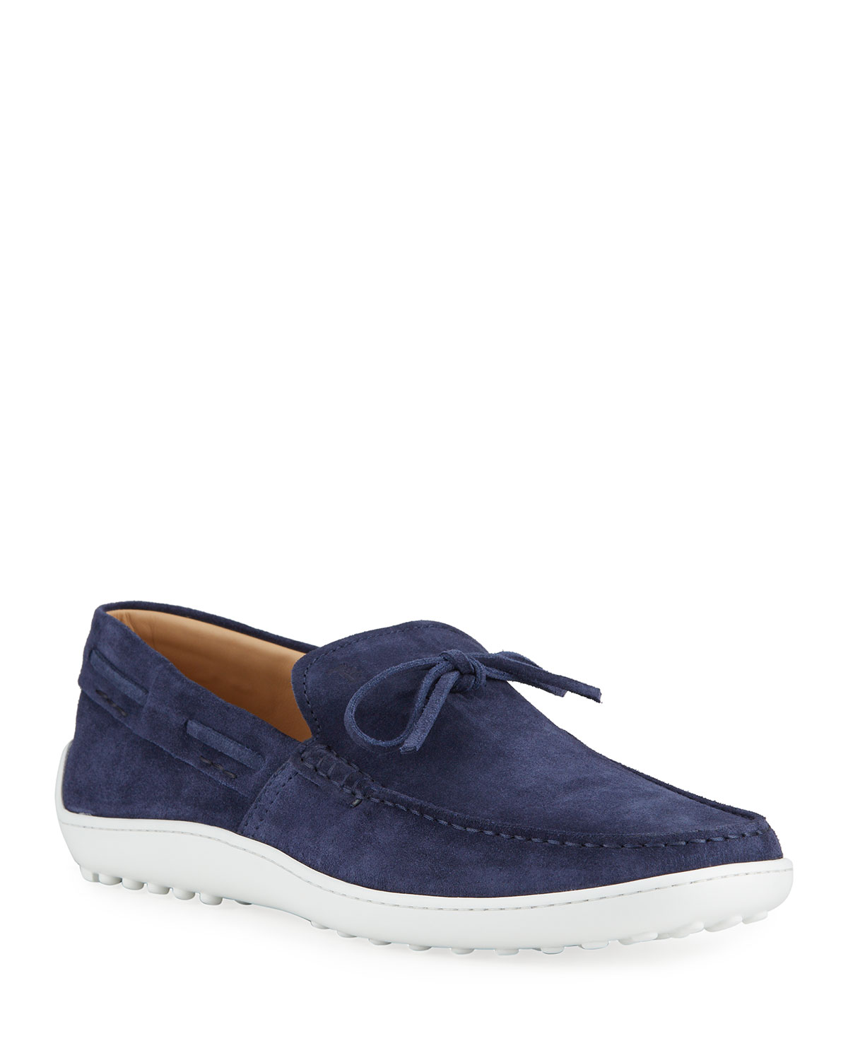 Tod's MEN'S LACCETTO SUEDE BOAT SHOES, NAVY