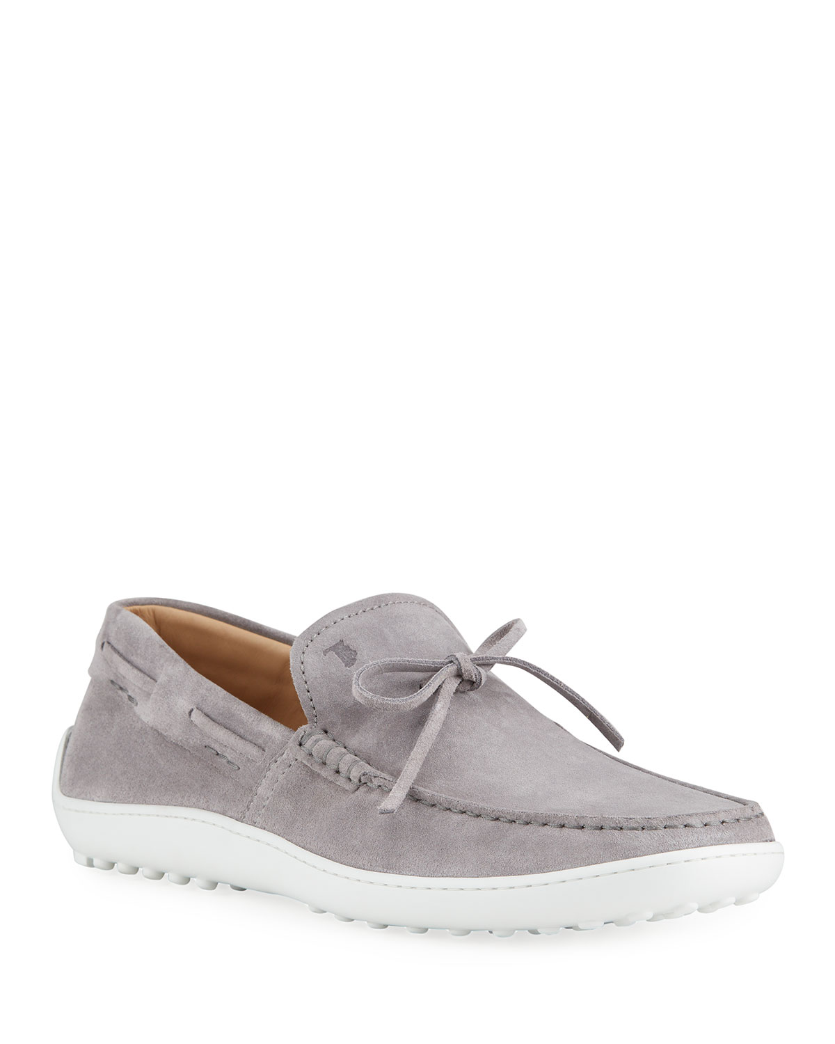 Tod's MEN'S LACCETTO SUEDE BOAT SHOES, GREY