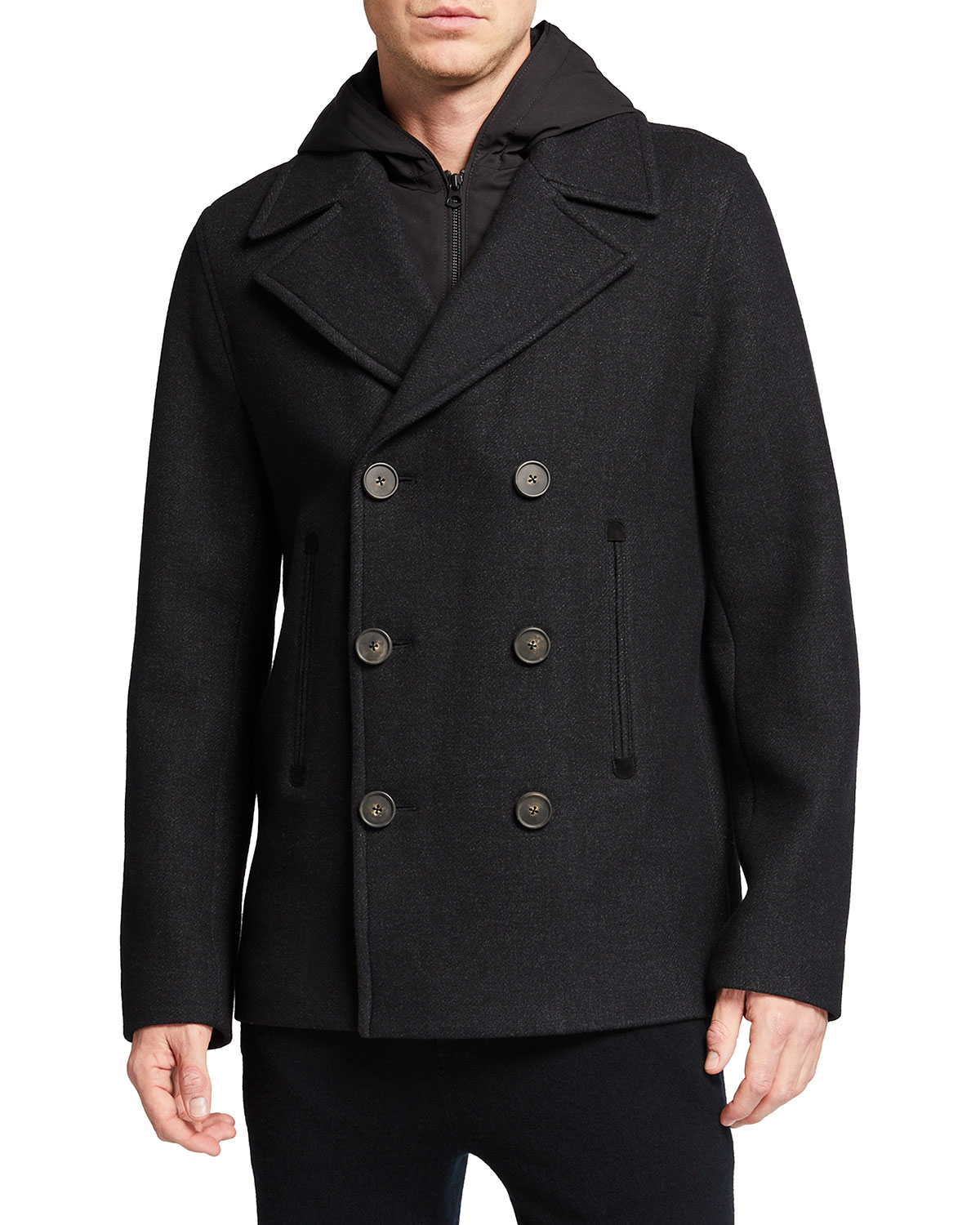 Vince MEN'S DOUBLE-BREASTED WOOL PEACOAT W/ REMOVABLE HOOD