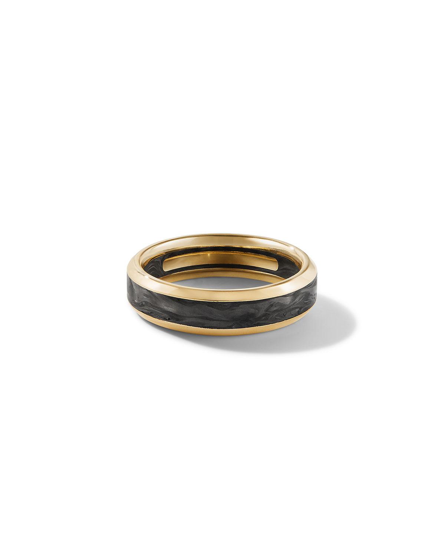 Men's 18K Gold/Carbon Beveled Band Ring