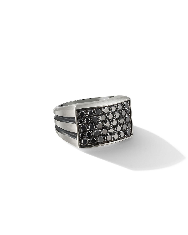 Men's Streamline Beveled Signet Ring with Black Diamonds