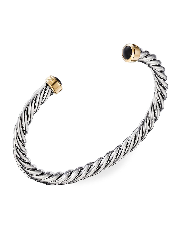 Men's 6mm Black Onyx Cable Classic Cuff Bracelet