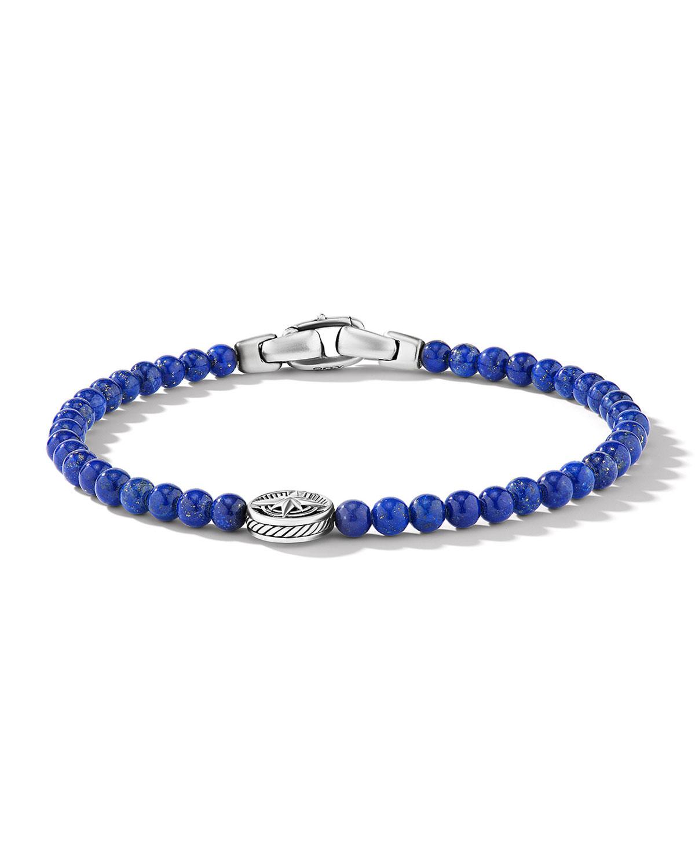Men's Lapis Lazuli Bead Compass Bracelet