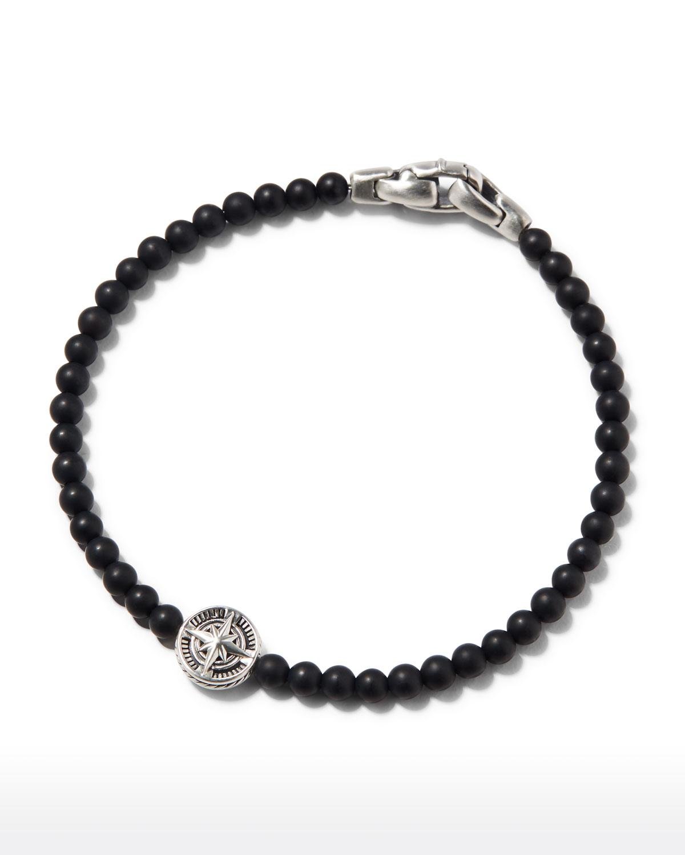Men's Onxy Bead & Compass Bracelet