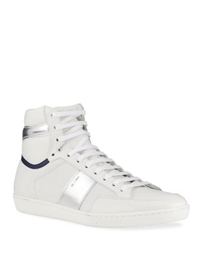 Men's Court Classic SL/10 Metallic Perforated High-Top Sneakers