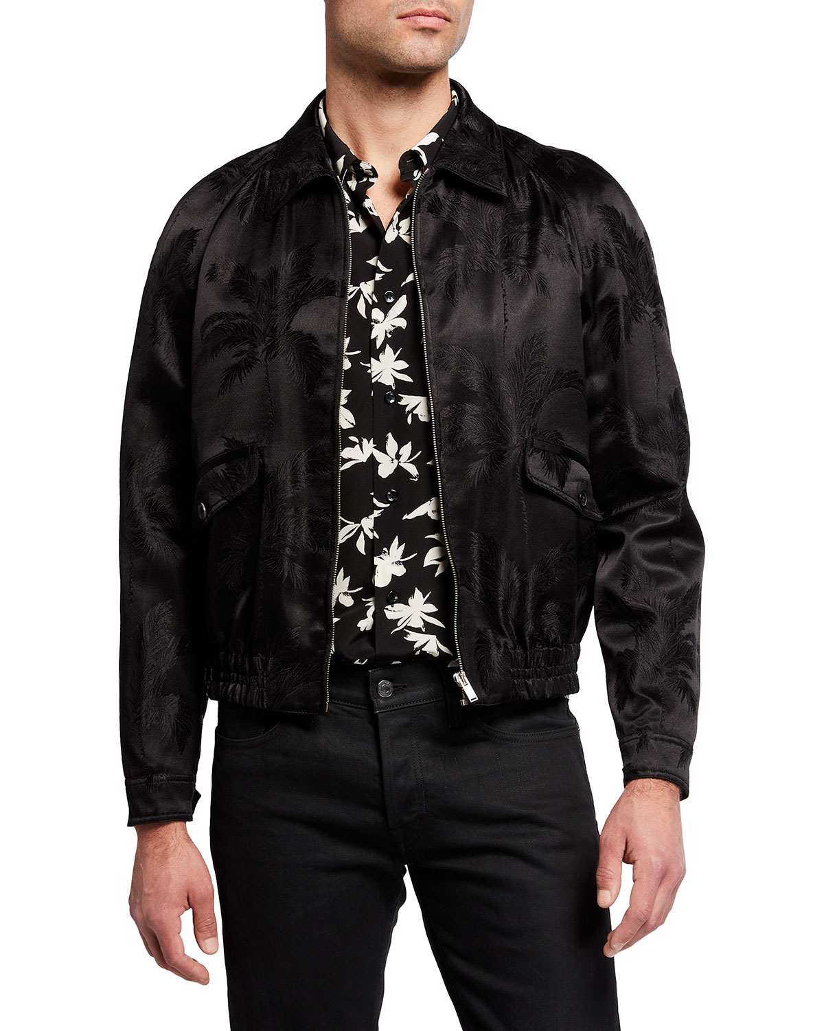Saint Laurent MEN'S SATIN JACQUARD TEDDY JACKET