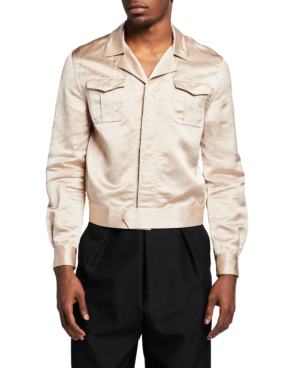 Saint Laurent MEN'S SATIN 2-POCKET TEDDY JACKET