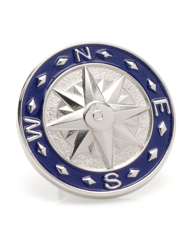 Men's Blue Compass Lapel Pin