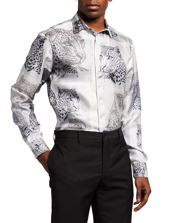 Men's Silk Leopard Portraits Sport Shirt